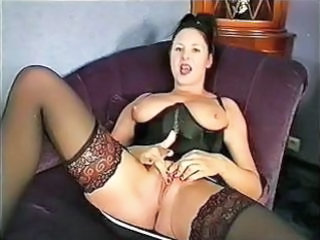 Corset Masturbating   Stockings