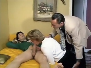 Blowjob Clothed European French  Mom Old and Young Threesome