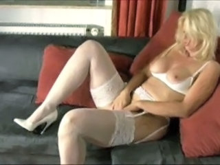 Blonde Lingerie Masturbating Mature Stockings