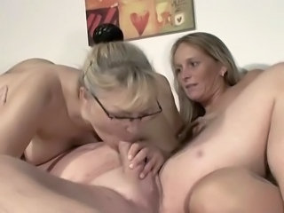 Blowjob European German Glasses Mature Threesome