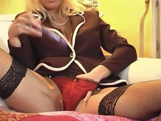 European French Masturbating  Panty Stockings