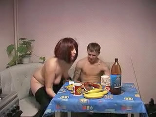 Amateur Homemade Kitchen Mature Mom Old and Young Russian