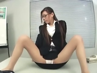 Asian Glasses Japanese  Office Panty Pantyhose Secretary