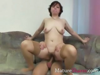 Hairy Mature Mom Old and Young Riding  Stockings