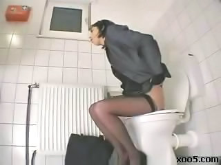 HiddenCam Masturbating  Stockings Toilet Voyeur