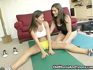 Daughter Lesbian  Mom Old and Young Sport Teen