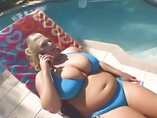 Big Tits Bikini  Natural Outdoor Pool
