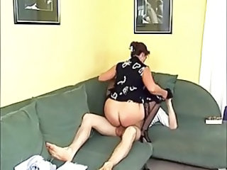 Clothed European German Mature Mom Riding Stockings