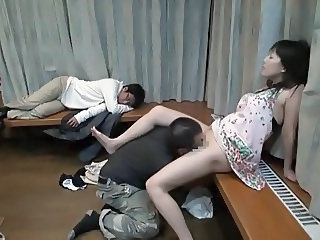 Asian Clothed Cuckold Japanese Licking  Sleeping Wife