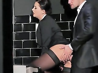 Clothed Doggystyle  Secretary Stockings Toilet