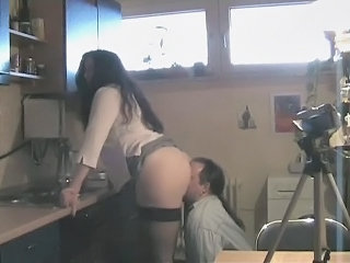 Kitchen Licking Stockings Wife