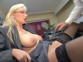 Big Tits Blonde Glasses  Natural Office Pornstar  Secretary Stockings
