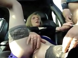 Amateur Car Handjob Outdoor Public Stockings Wife
