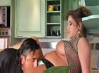 Big Tits Kitchen Licking