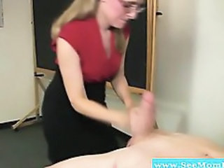 Glasses Handjob Mom Old and Young School Teacher