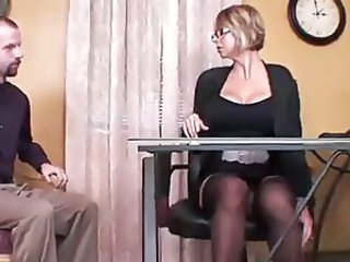 Big Tits Glasses  Secretary Silicone Tits Stockings