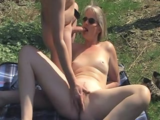 Amateur Blowjob  Older Outdoor Wife