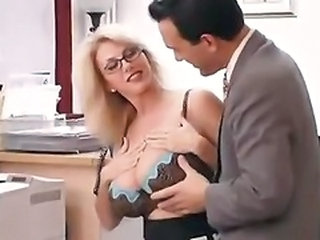 Big Tits Glasses Lingerie  Natural Office Pornstar Secretary