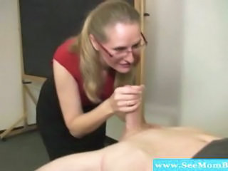Glasses Handjob Mature Mom Old and Young Teacher