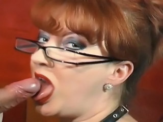 Blowjob Glasses Mature Redhead