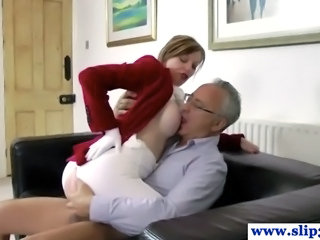Big Tits Clothed Daddy  Old and Young Riding