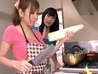 Asian Daughter Japanese Kitchen Mom Old and Young
