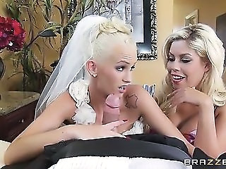Amazing Blowjob Bride  Pornstar Threesome