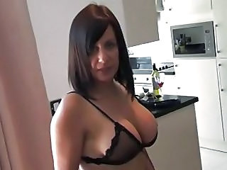 Big Tits Kitchen Lingerie