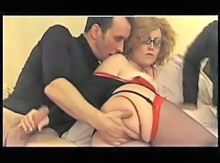 European French Glasses Mature Stockings Threesome