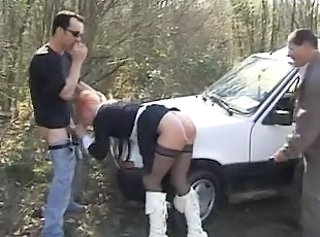 Blowjob Car Clothed European French  Outdoor Stockings Threesome