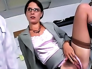Glasses Hairy  Office Secretary Stockings