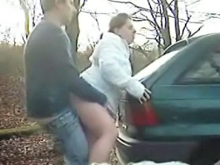 Amateur Car Clothed Outdoor Wife