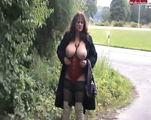 Amateur  Big Tits Corset Mature Natural Outdoor Public