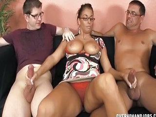 Big Tits Glasses Handjob  Threesome