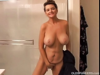 Big Tits Masturbating Mature Mom Natural  Showers