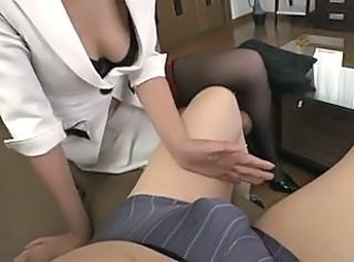 Asian Handjob Japanese MILF Secretary Small cock Stockings