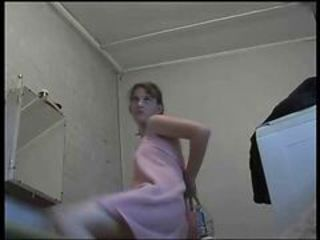 Hidden cam in bathroom catches my 19yrs sister totall...