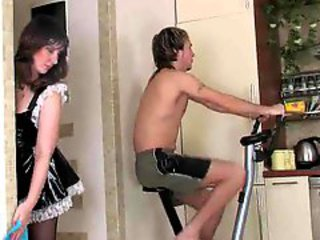 French maid milf fucked hard by big bushwa