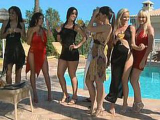 Six girls, thre guys... Pool side glamour party