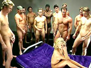 Hard gangbang increased by bukkake for blonde