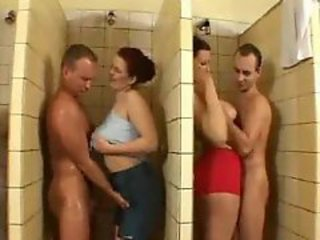 A wild orgy with the shower stalls