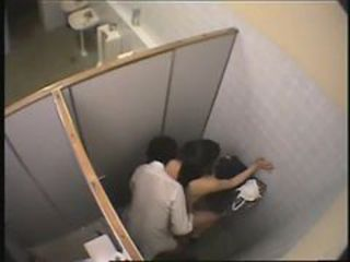 sneaking student fucking in public toilet