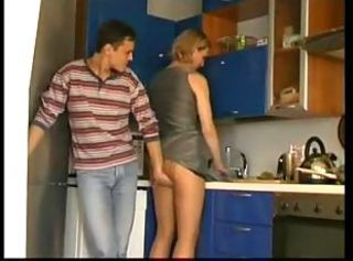 Russian Mom Fucks In Kitchen