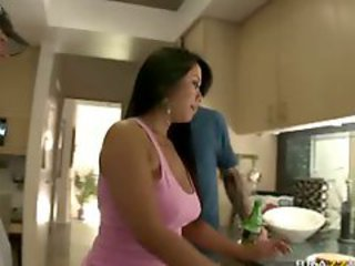 Anal sex with titty chick in the kitchen