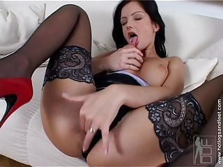 Horny Sandra Shine fingers her wet pussy wearing a hot black stockings