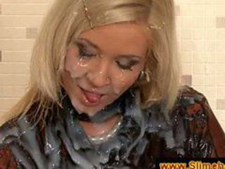 Pretty blonde soaked in cum at gloryhole