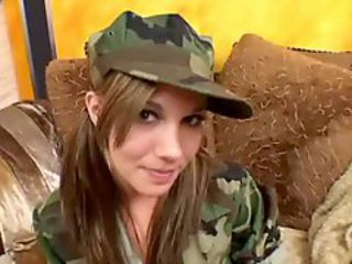 Furious gangbang for girlie in military clothes