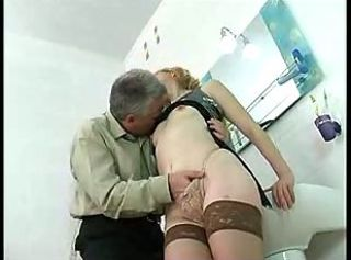 Teen nearby a sexy dress takes old man cock