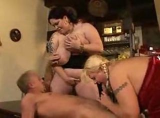 Blonde BBW went wild on threesome
