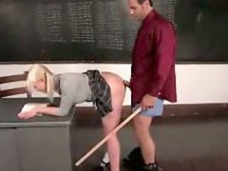 Schoolgirl On Detention Sucking Cock Spanked With Stick Fucked From Behind While Bending To The Desk By Teacher In The Classroom